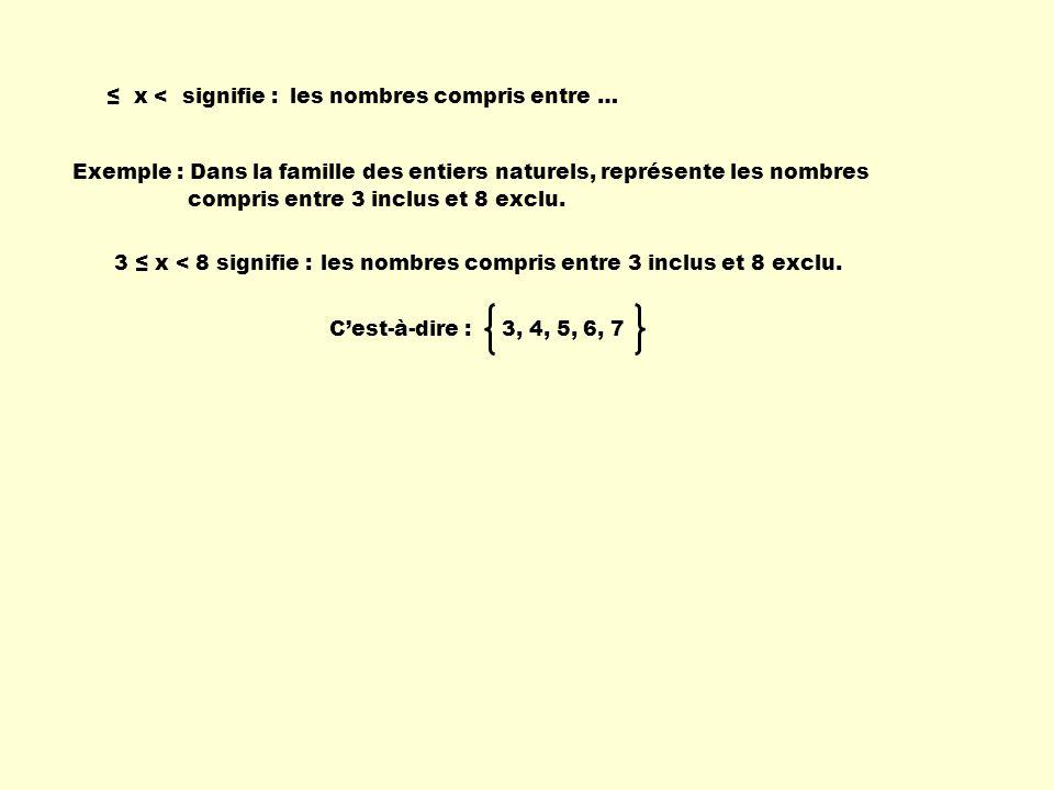 ≤ x < signifie : les nombres compris entre … Exemple : Dans la famille des entiers naturels, représente les nombres.