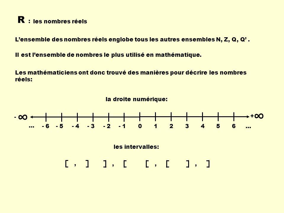 R : les nombres réels. L'ensemble des nombres réels englobe tous les autres ensembles N, Z, Q, Q' .
