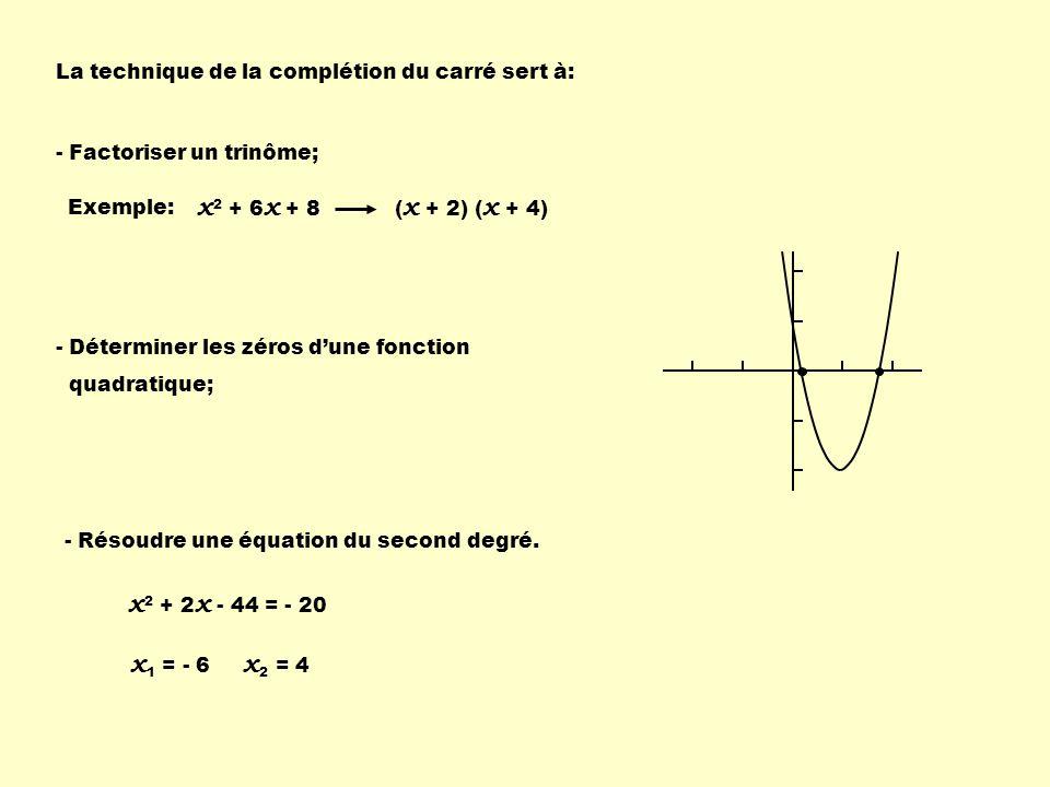 La technique de la complétion du carré sert à: