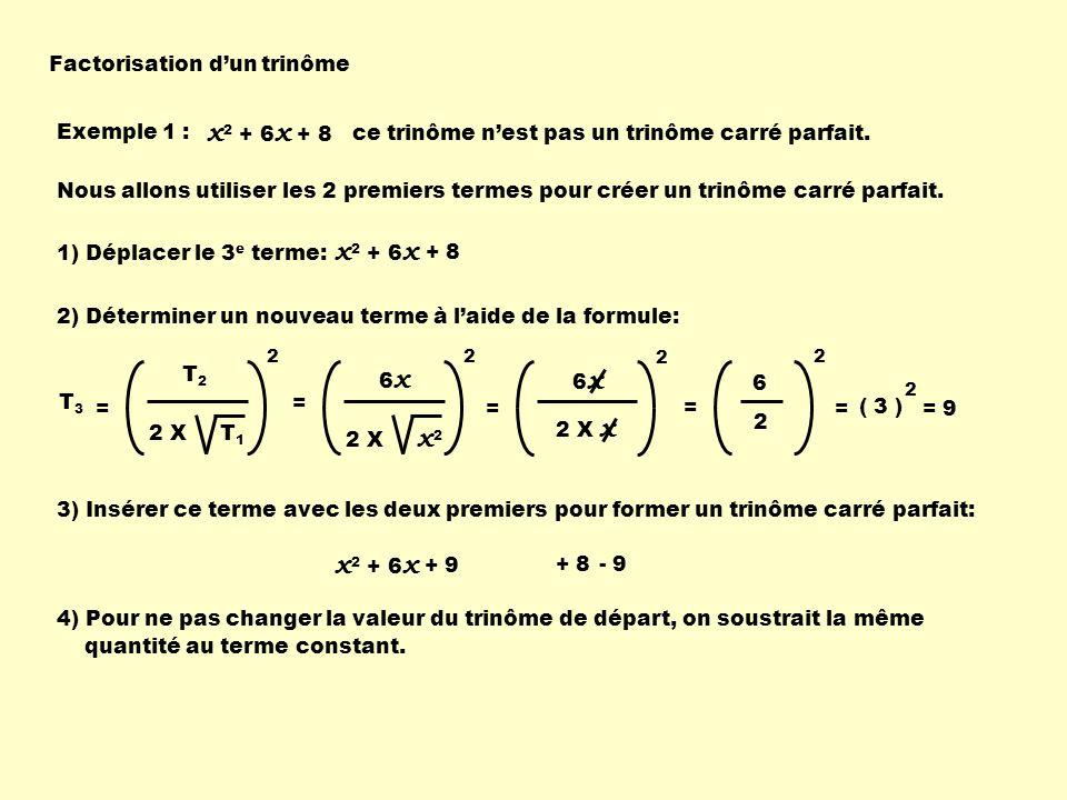 x2 + 6x + 8 x2 + 6x x2 + 6x Factorisation d'un trinôme Exemple 1 :