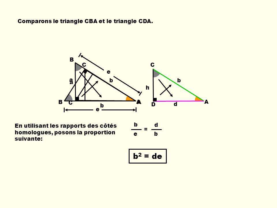 b2 = de Comparons le triangle CBA et le triangle CDA. B e a C b A b e