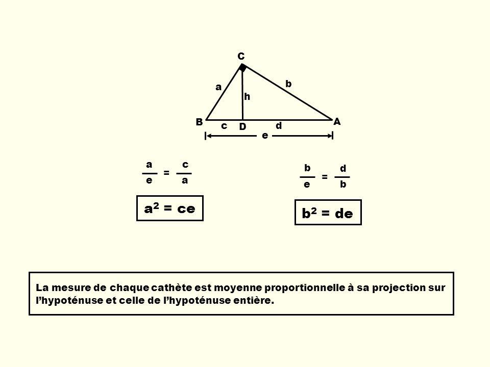 a2 = ce b2 = de C b a h B A c D d e a c e = b d e =