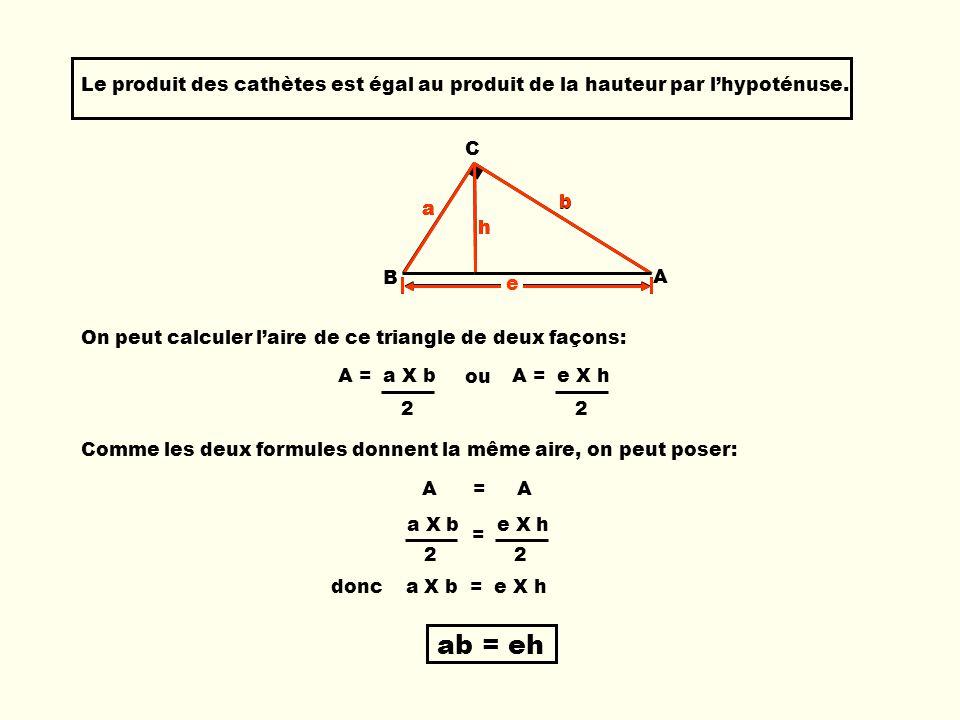 Le produit des cathètes est égal au produit de la hauteur par l'hypoténuse.