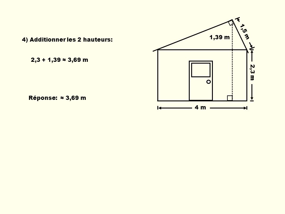 1,5 m 1,39 m 4) Additionner les 2 hauteurs: 2,3 m 2,3 + 1,39 ≈ 3,69 m Réponse: ≈ 3,69 m 4 m 4 m