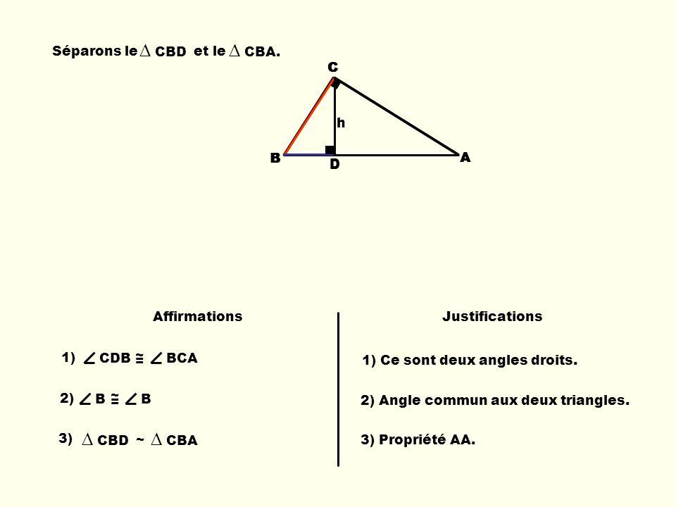 ∆ CBD ∆ CBA. ∆ CBD ∆ CBA Séparons le et le B C D C A B B C D A h