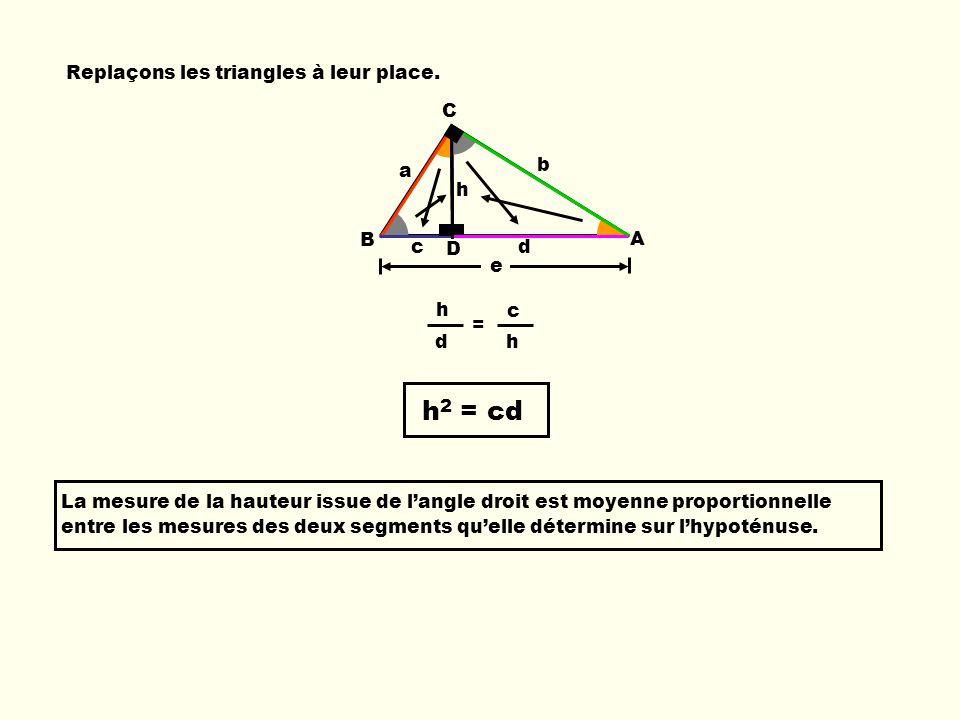 h2 = cd Replaçons les triangles à leur place. C b a h B A c D d e h c