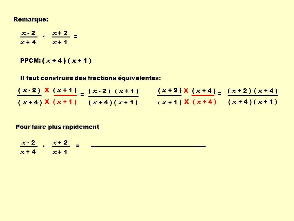 x + 1 x + 2 x + 4 x - 2 x + 1 x + 2 x + 4 x - 2 Remarque: - =