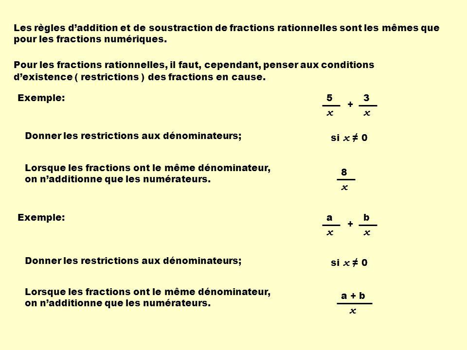 Les règles d'addition et de soustraction de fractions rationnelles sont les mêmes que pour les fractions numériques.