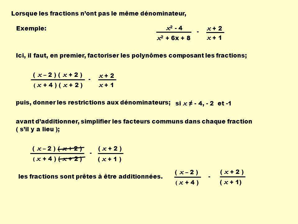 Lorsque les fractions n'ont pas le même dénominateur,