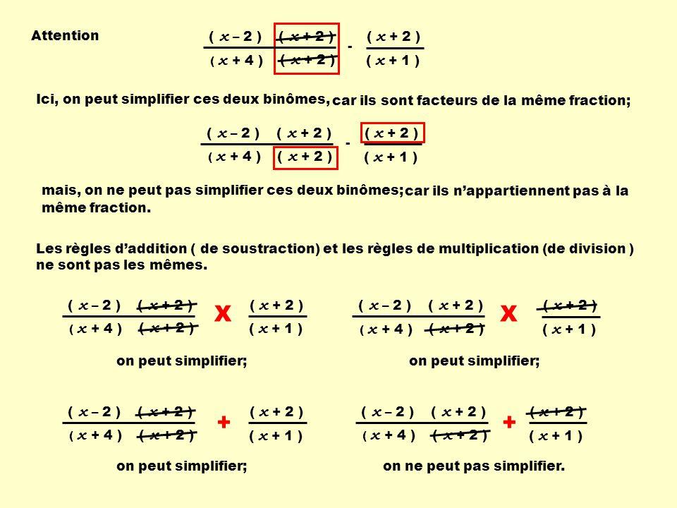 X X + + Attention ( x + 2 ) ( x – 2 ) - ( x + 1 )