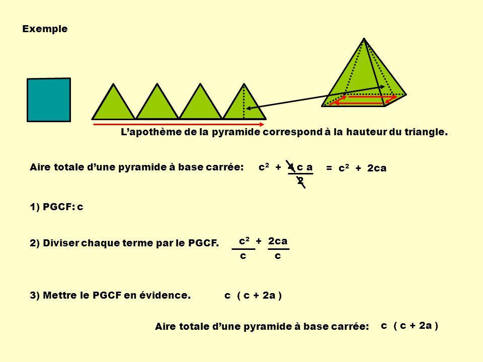 Exemple L'apothème de la pyramide correspond à la hauteur du triangle. Aire totale d'une pyramide à base carrée: