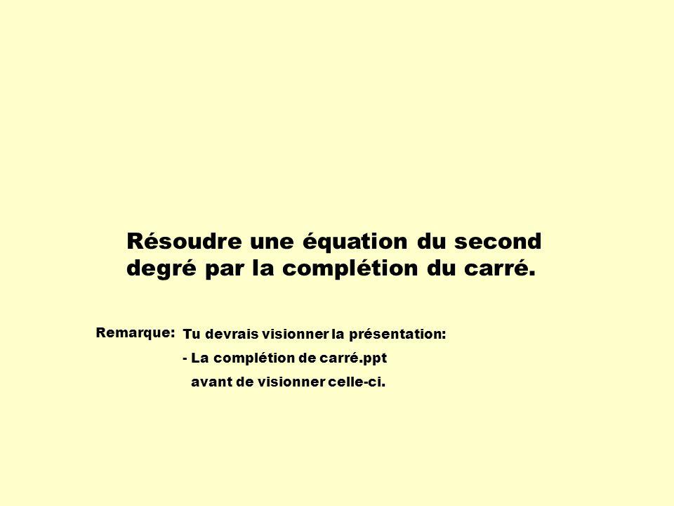 Résoudre une équation du second degré par la complétion du carré.