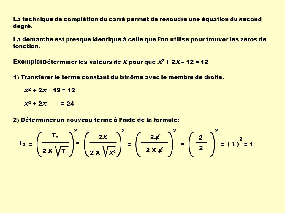 La technique de complétion du carré permet de résoudre une équation du second degré.