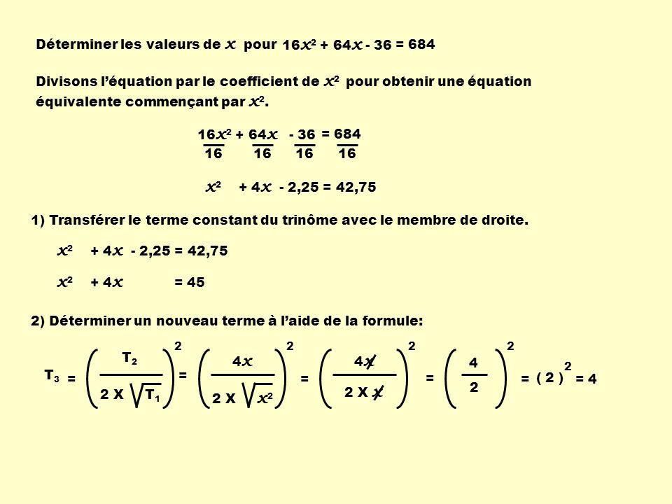 Déterminer les valeurs de x pour