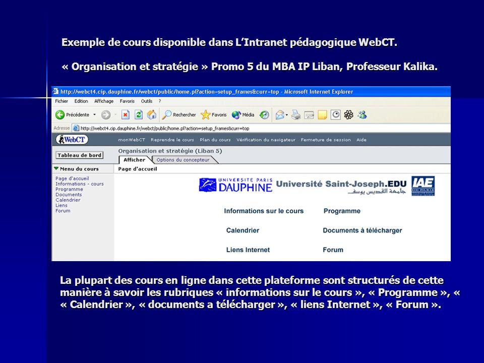Exemple de cours disponible dans L'Intranet pédagogique WebCT