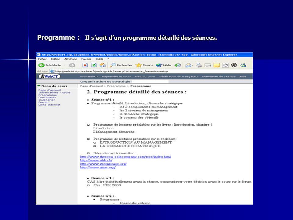 Programme : Il s'agit d'un programme détaillé des séances.