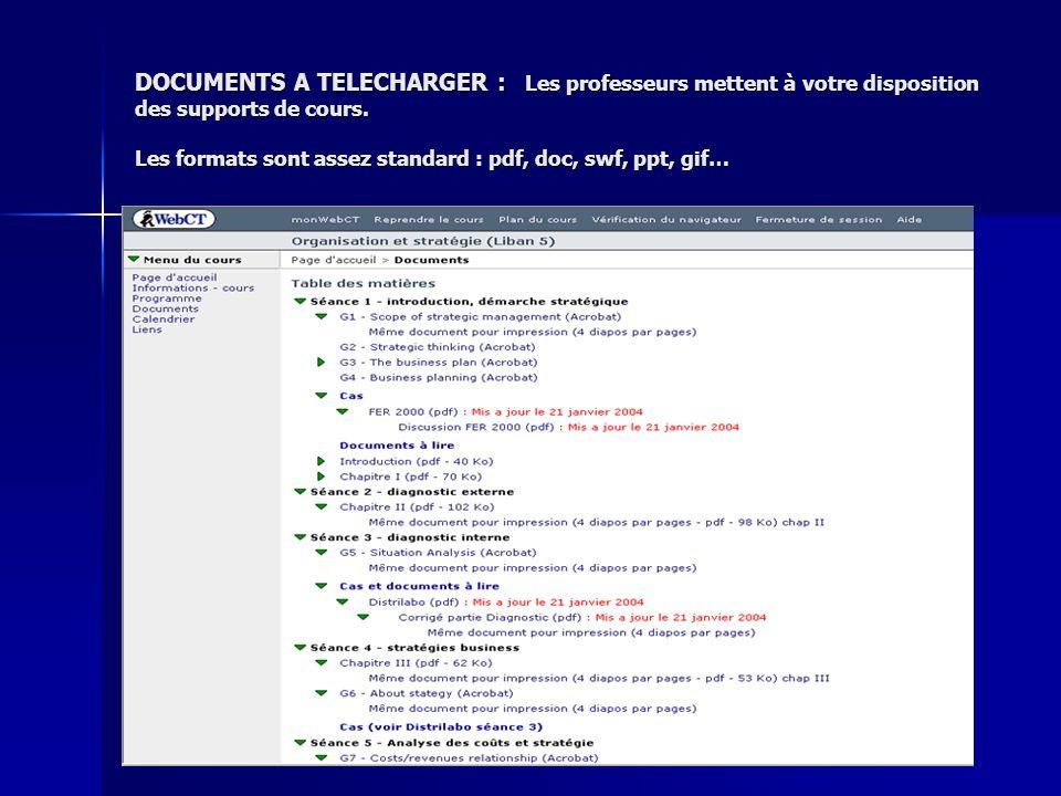 DOCUMENTS A TELECHARGER : Les professeurs mettent à votre disposition des supports de cours.