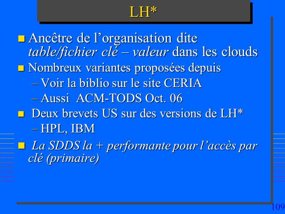 LH* Ancêtre de l'organisation dite table/fichier clé – valeur dans les clouds. Nombreux variantes proposées depuis.