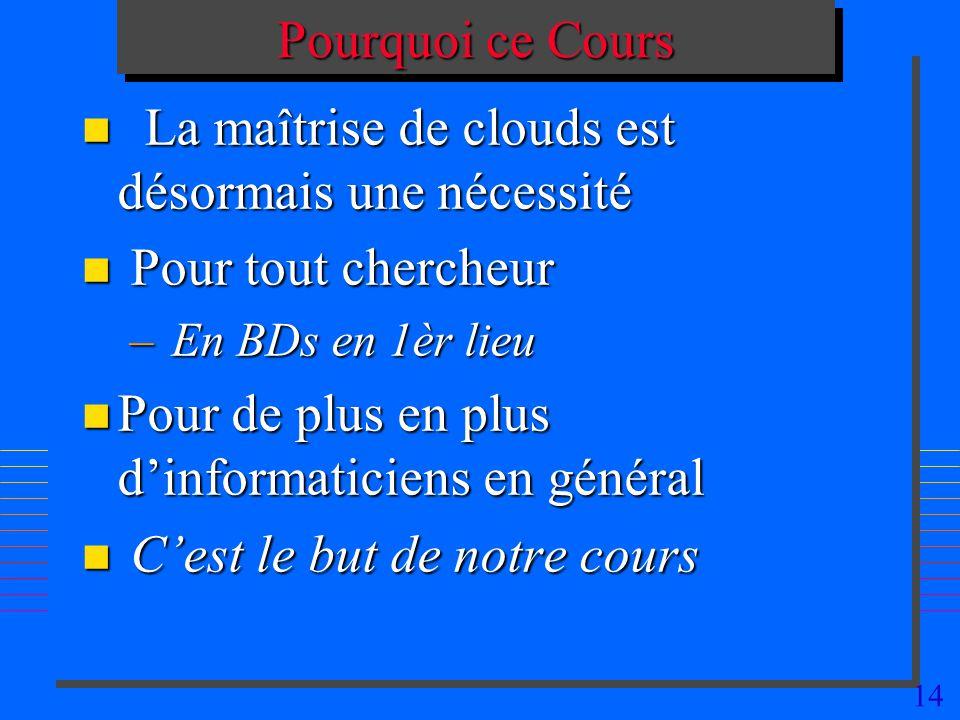 La maîtrise de clouds est désormais une nécessité Pour tout chercheur