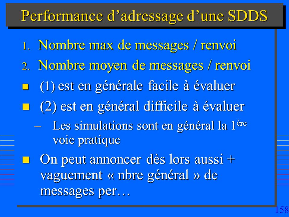 Performance d'adressage d'une SDDS