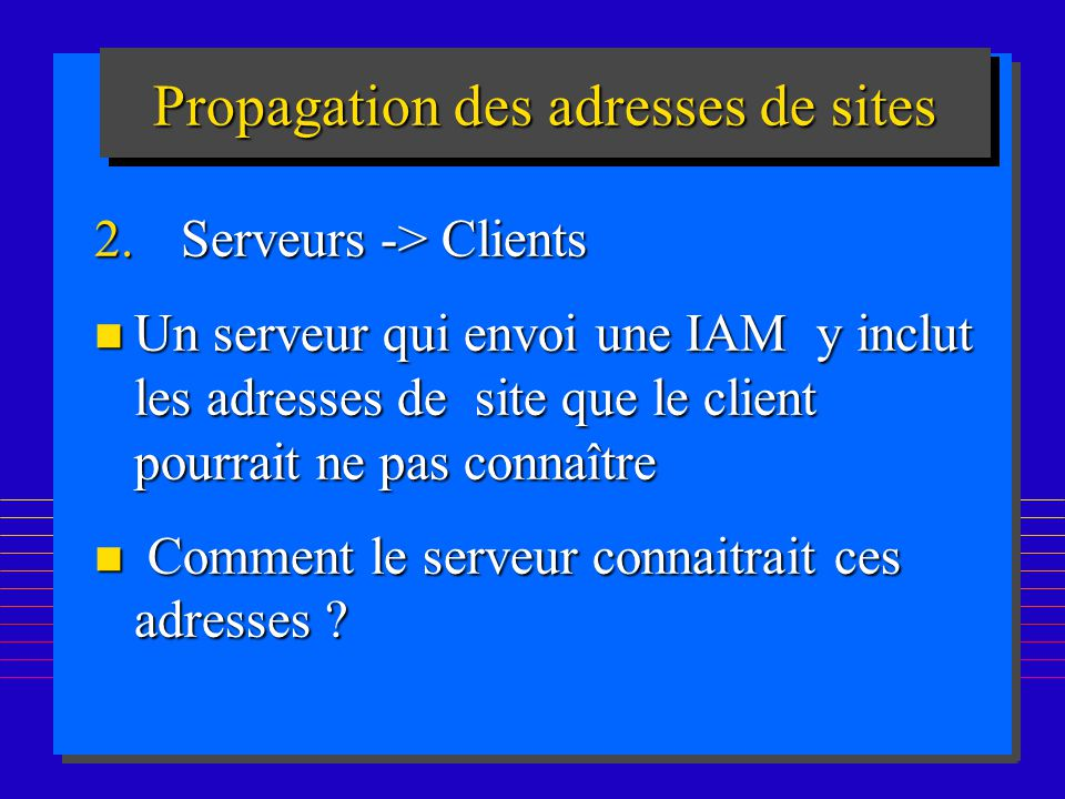 Propagation des adresses de sites