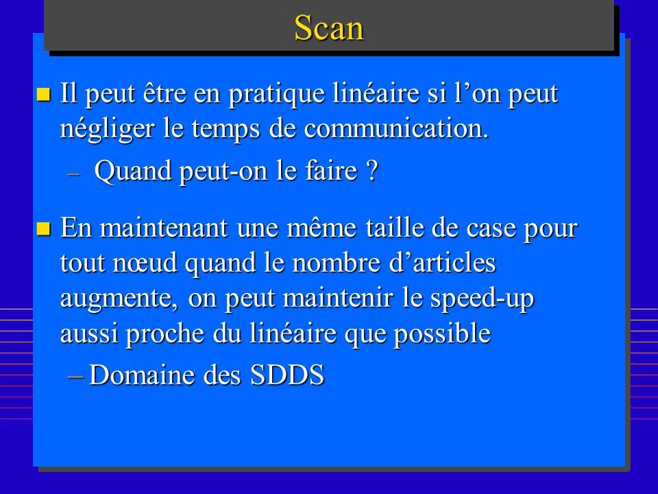 Scan Il peut être en pratique linéaire si l'on peut négliger le temps de communication. Quand peut-on le faire