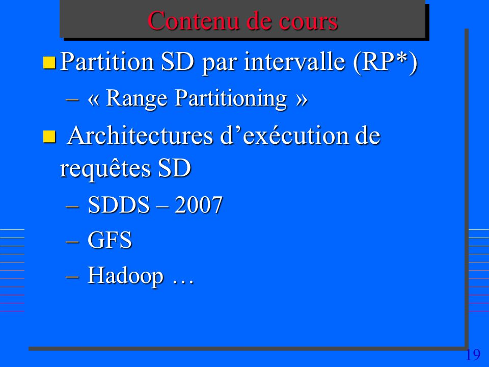 Partition SD par intervalle (RP*)