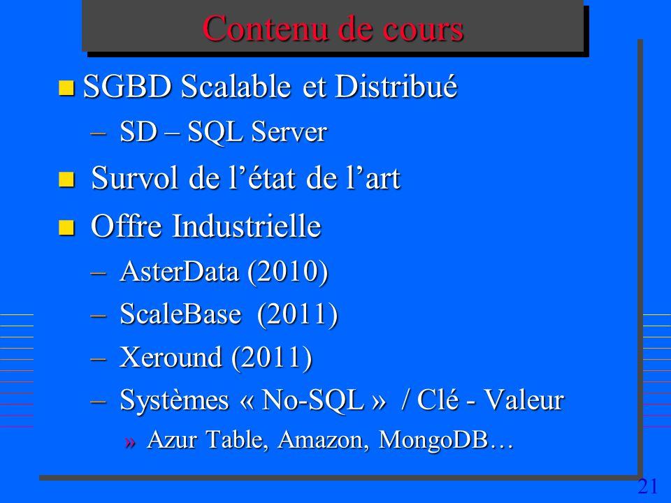 Contenu de cours SGBD Scalable et Distribué Survol de l'état de l'art