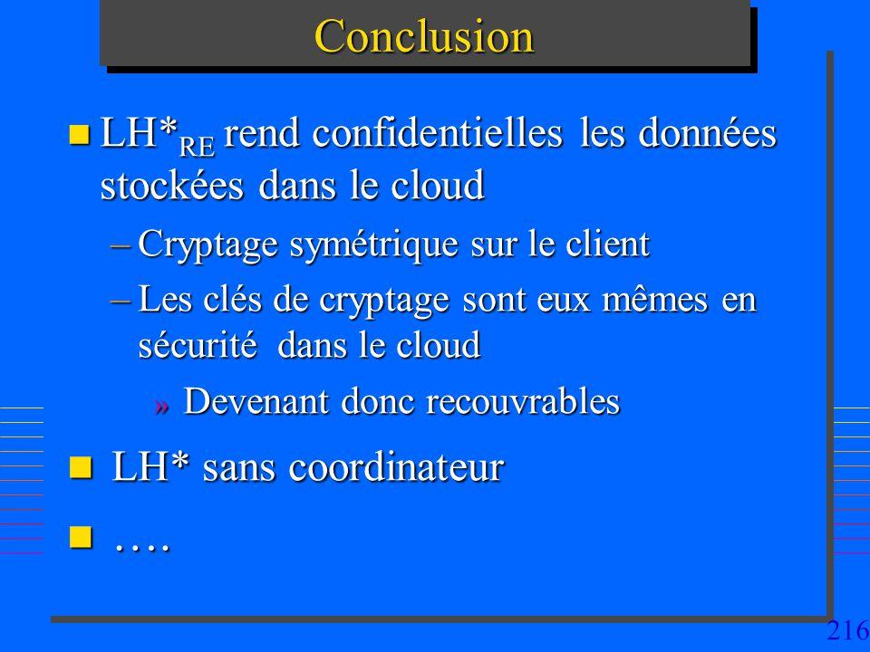 Conclusion LH* sans coordinateur ….