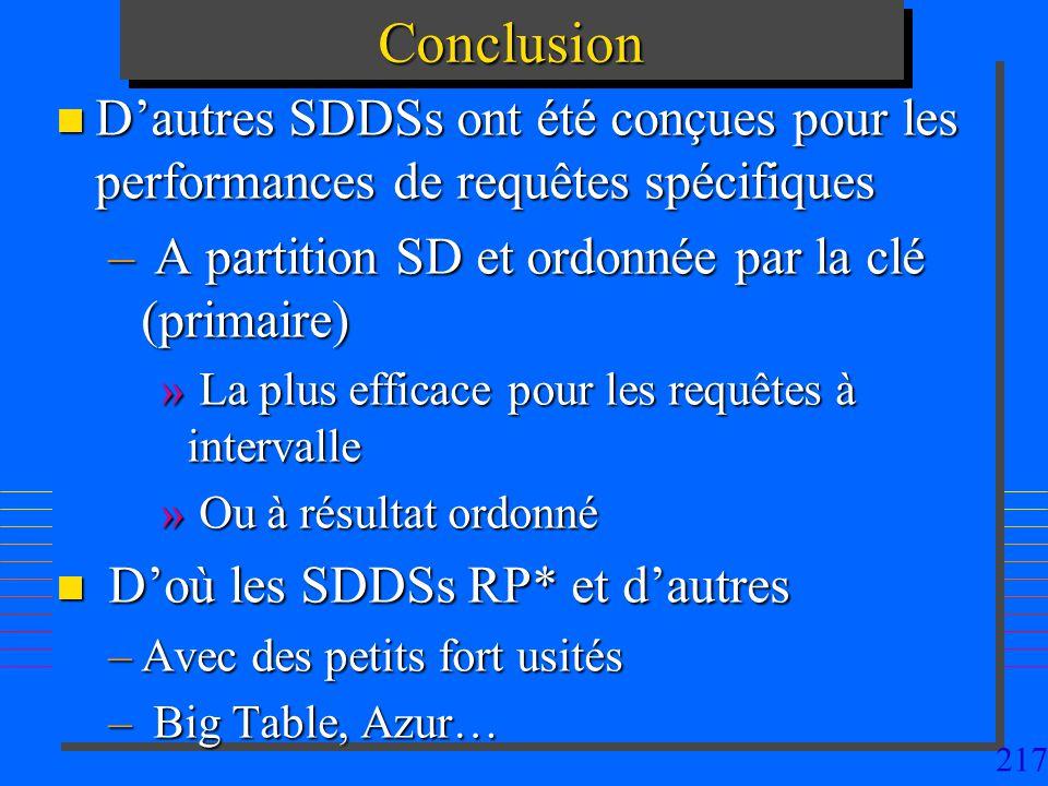 Conclusion D'autres SDDSs ont été conçues pour les performances de requêtes spécifiques. A partition SD et ordonnée par la clé (primaire)