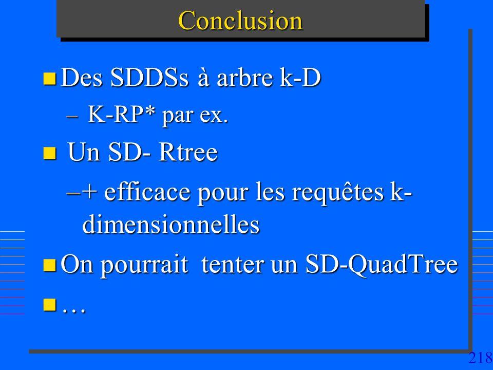 + efficace pour les requêtes k-dimensionnelles