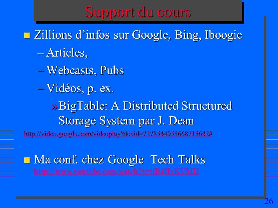 Support du cours Zillions d'infos sur Google, Bing, Iboogie Articles,