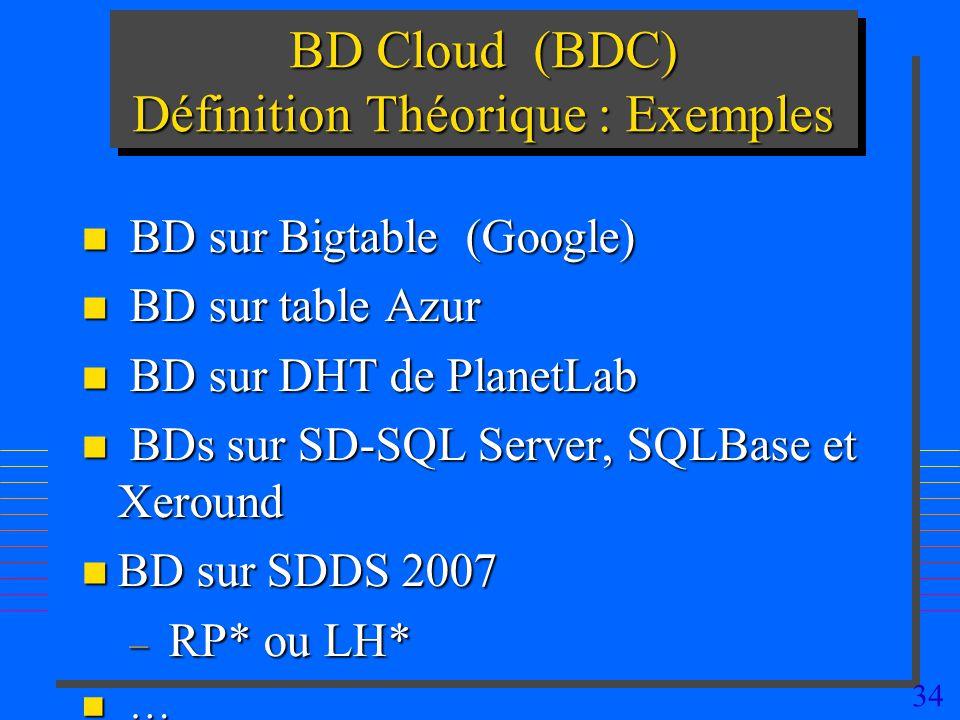 BD Cloud (BDC) Définition Théorique : Exemples