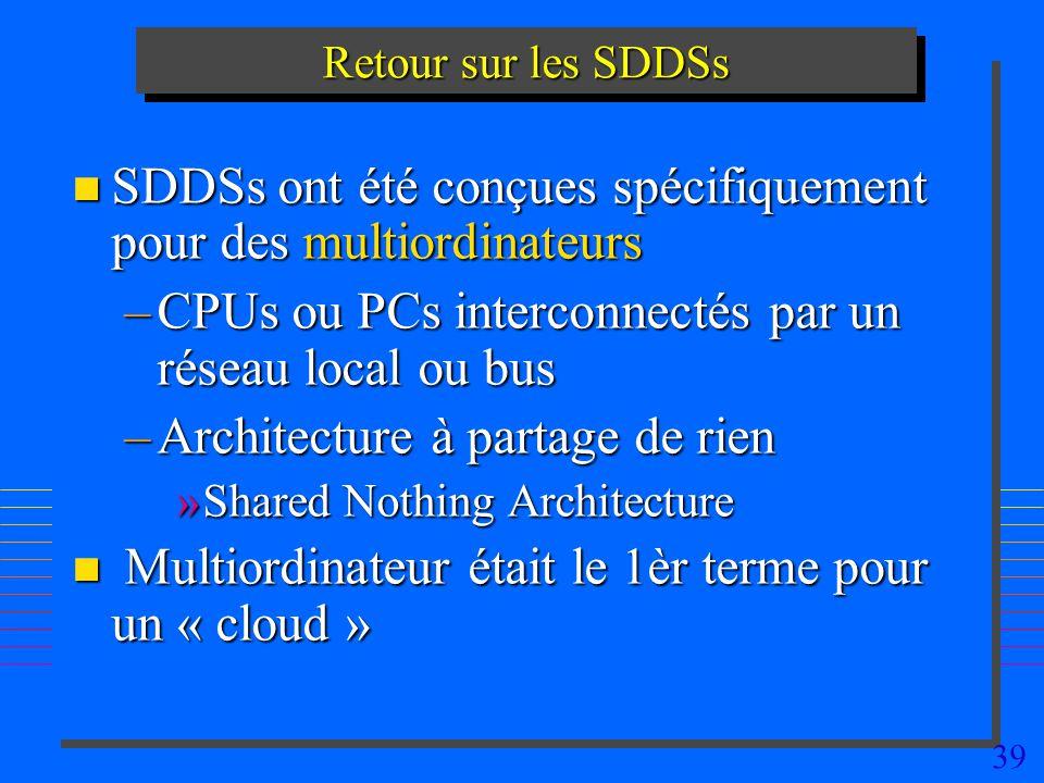 SDDSs ont été conçues spécifiquement pour des multiordinateurs