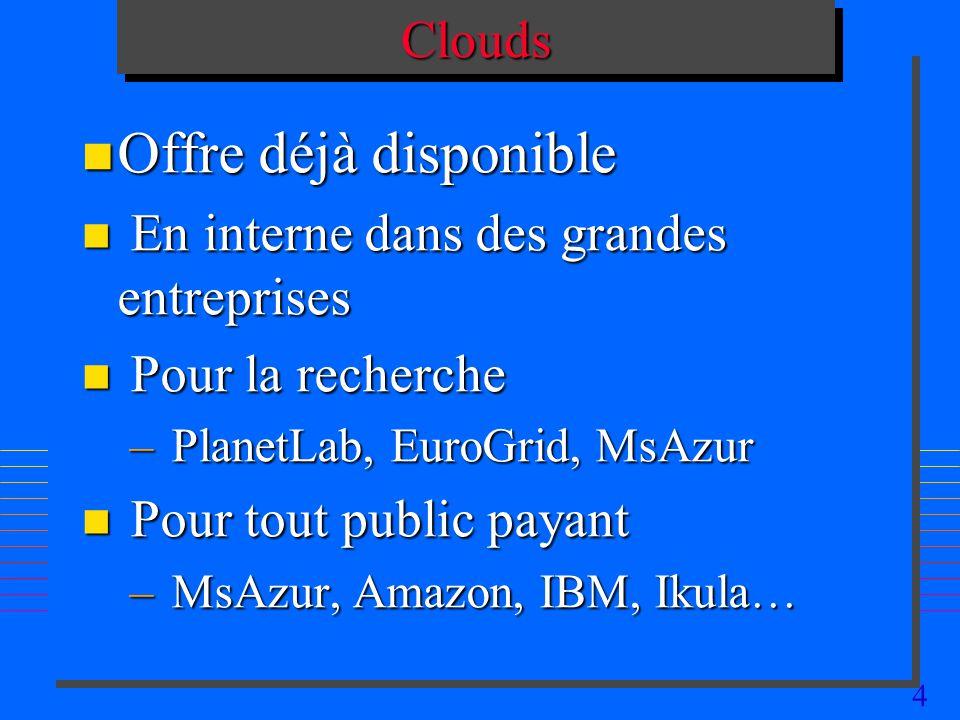 Offre déjà disponible Clouds En interne dans des grandes entreprises
