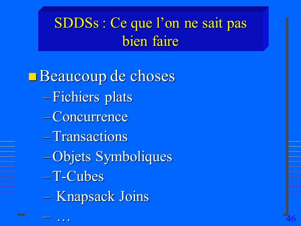 SDDSs : Ce que l'on ne sait pas bien faire