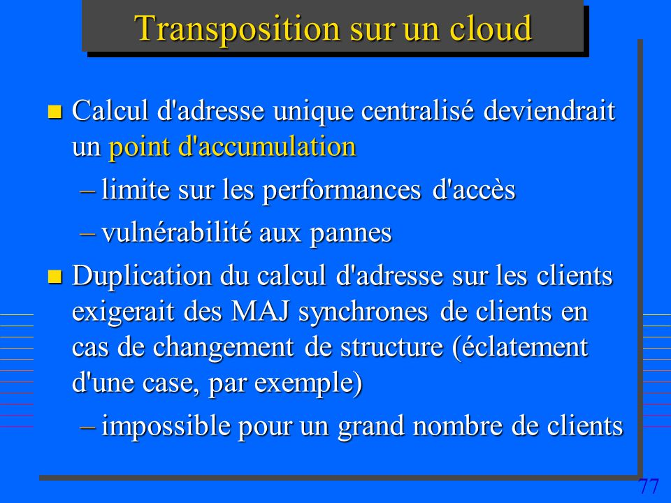 Transposition sur un cloud