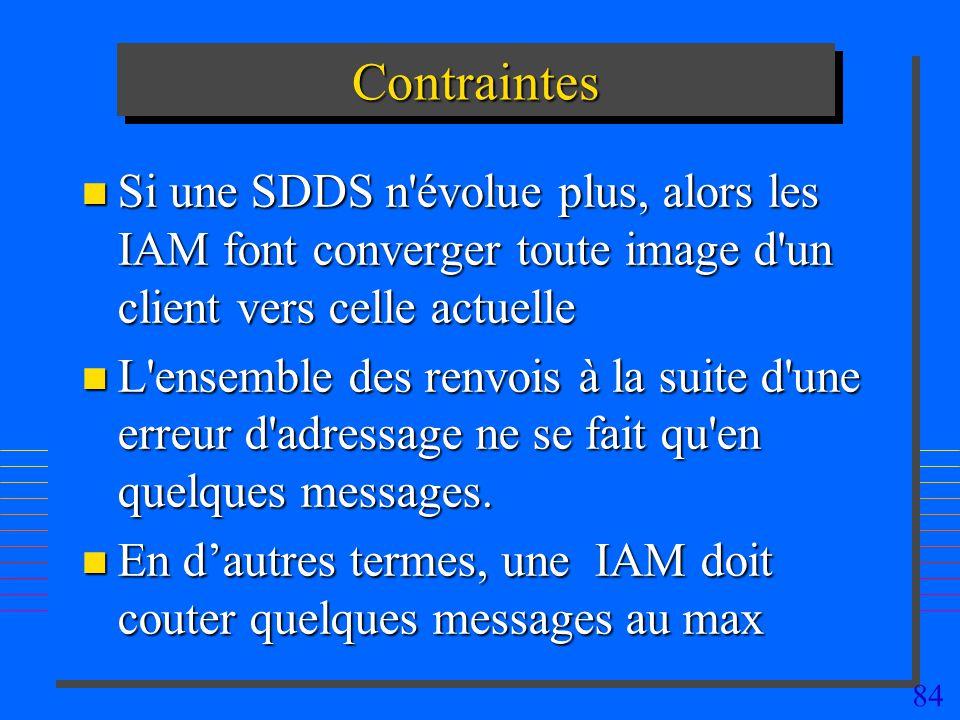 Contraintes Si une SDDS n évolue plus, alors les IAM font converger toute image d un client vers celle actuelle.