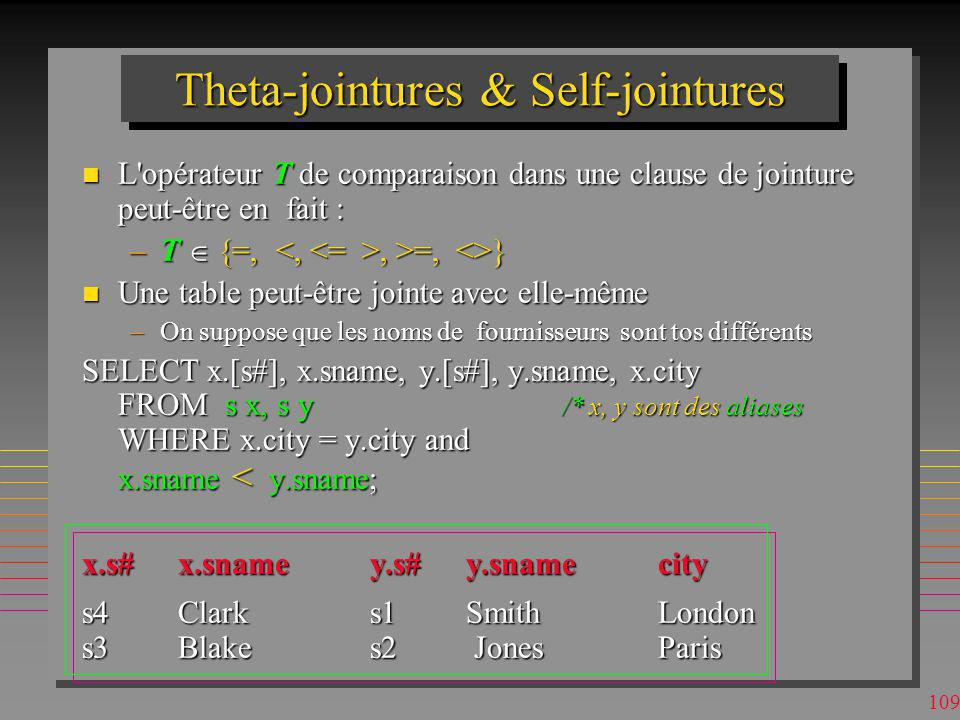 Theta-jointures & Self-jointures