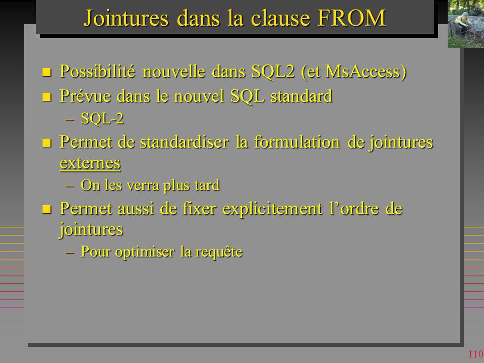 Jointures dans la clause FROM