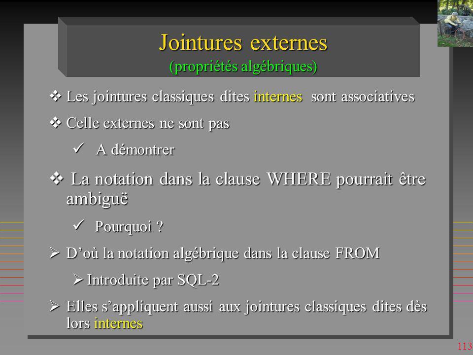 Jointures externes (propriétés algébriques)