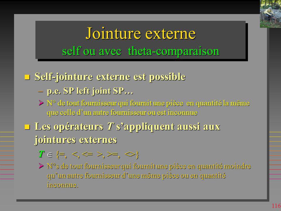 Jointure externe self ou avec theta-comparaison