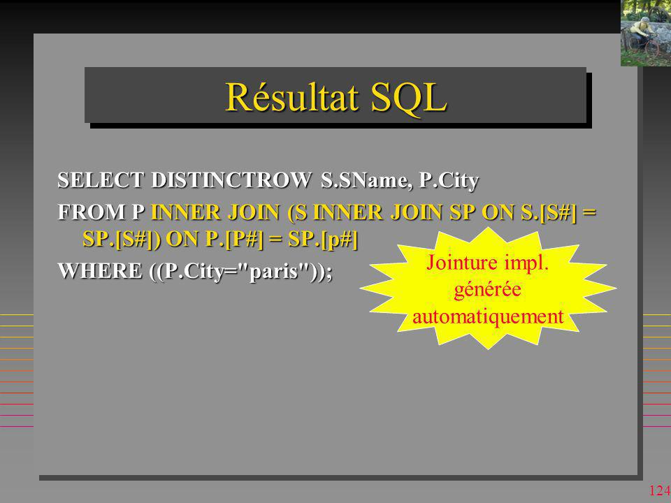Résultat SQL SELECT DISTINCTROW S.SName, P.City