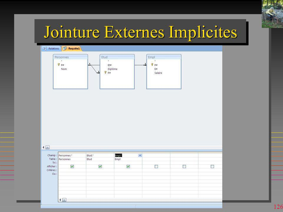 Jointure Externes Implicites
