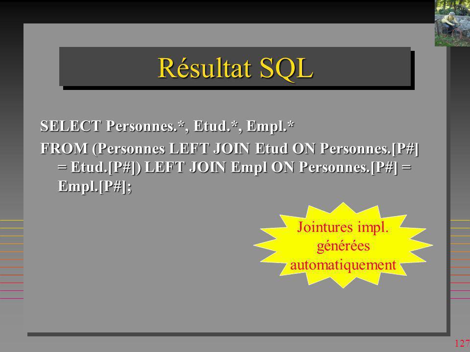 Résultat SQL SELECT Personnes.*, Etud.*, Empl.*