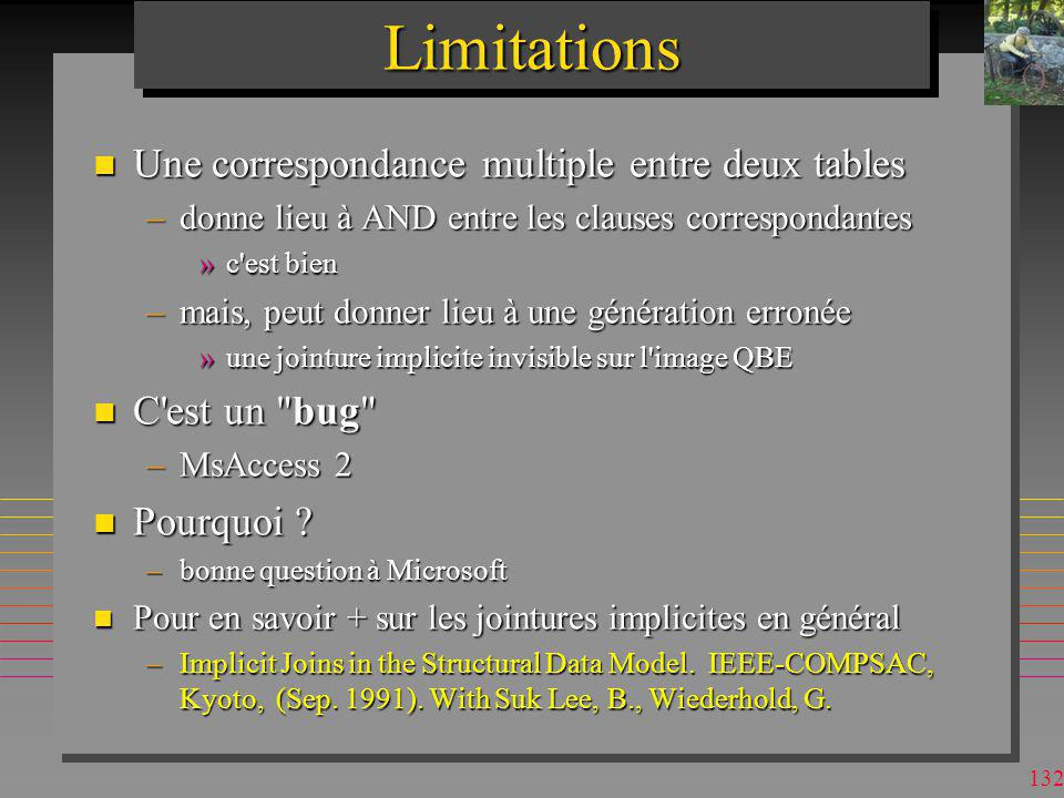 Limitations Une correspondance multiple entre deux tables