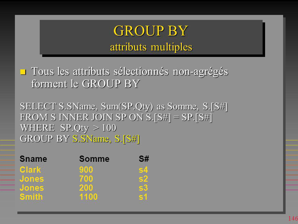 GROUP BY attributs multiples