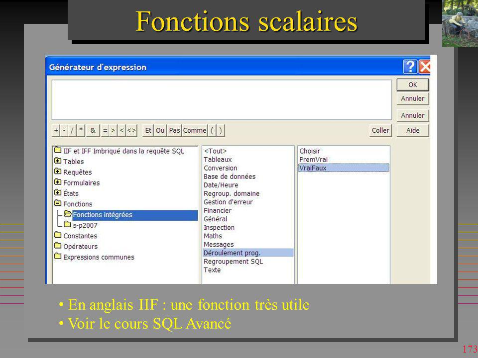 Fonctions scalaires En anglais IIF : une fonction très utile
