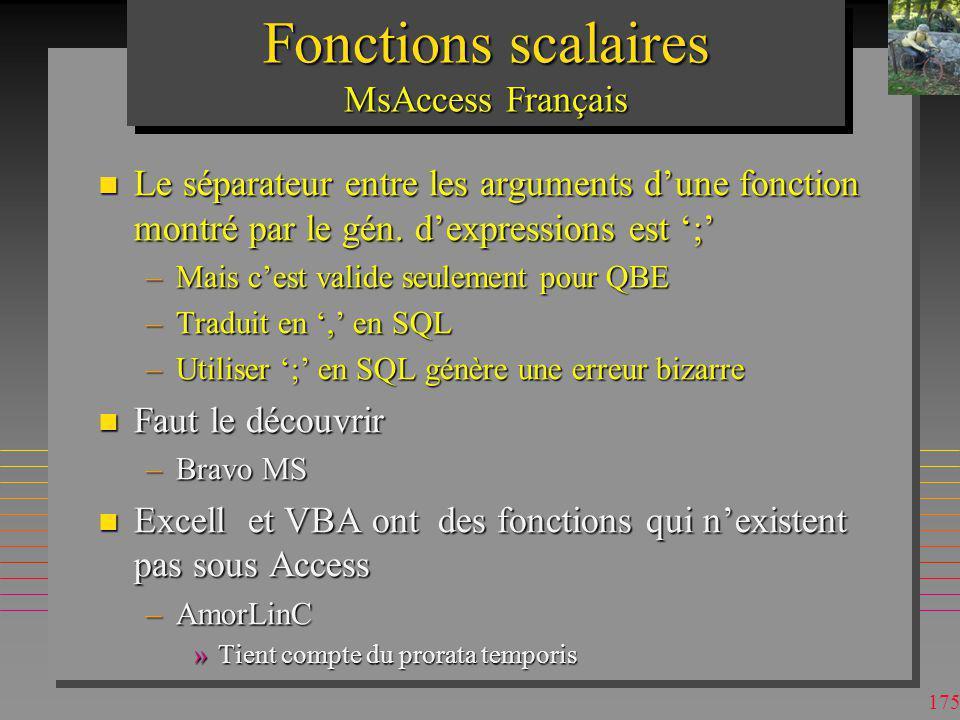 Fonctions scalaires MsAccess Français