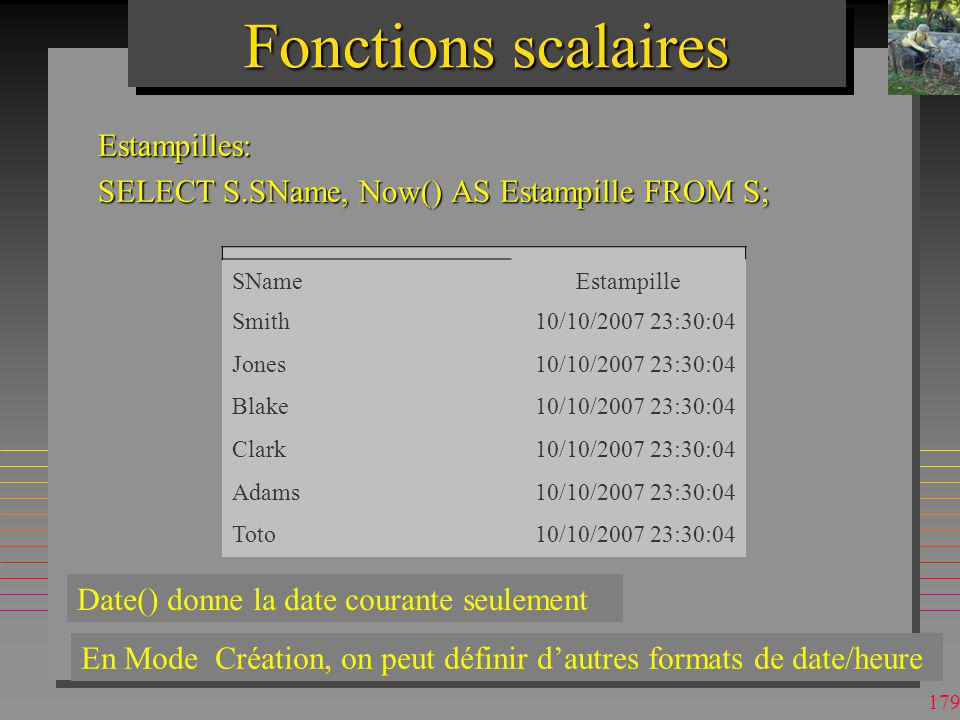 Fonctions scalaires Estampilles: